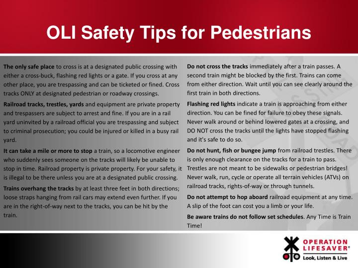 OLI Safety Tips for Pedestrians