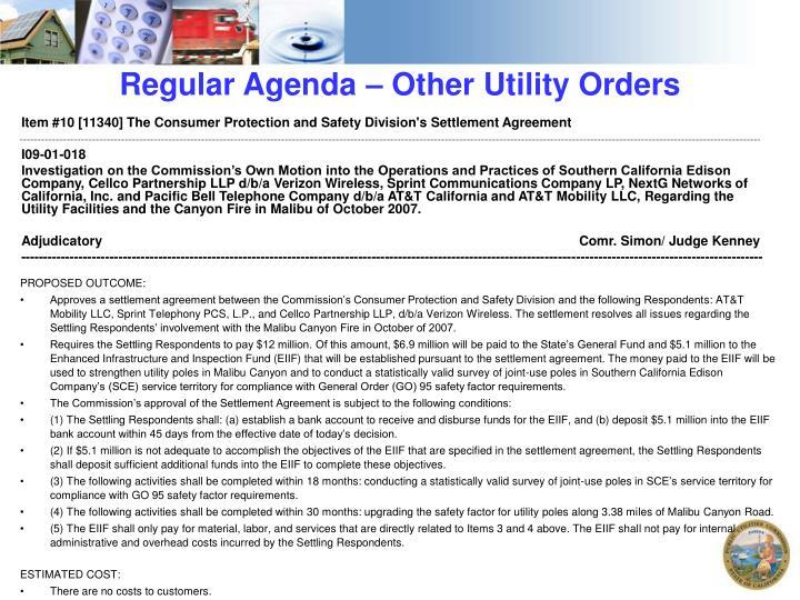 Regular Agenda – Other Utility Orders