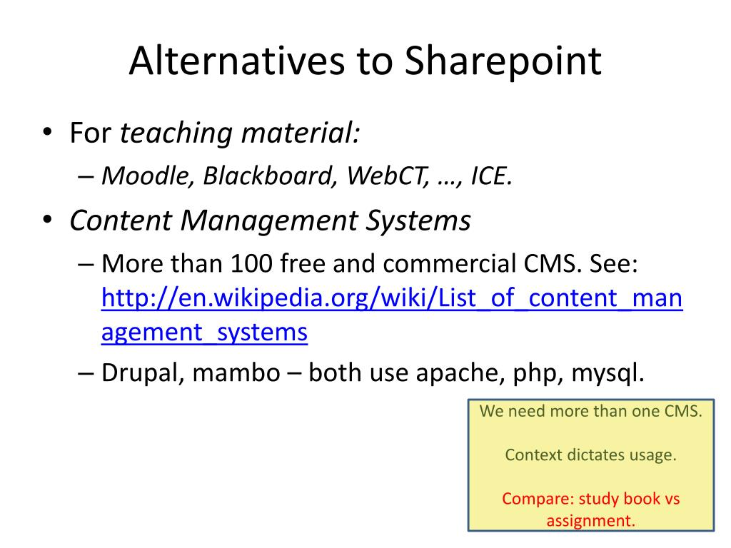 Alternatives to Sharepoint