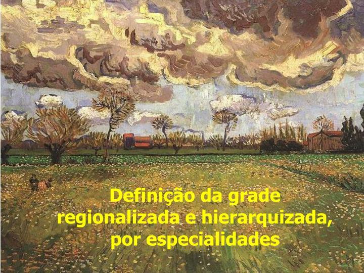 Definição da grade regionalizada e hierarquizada, por especialidades