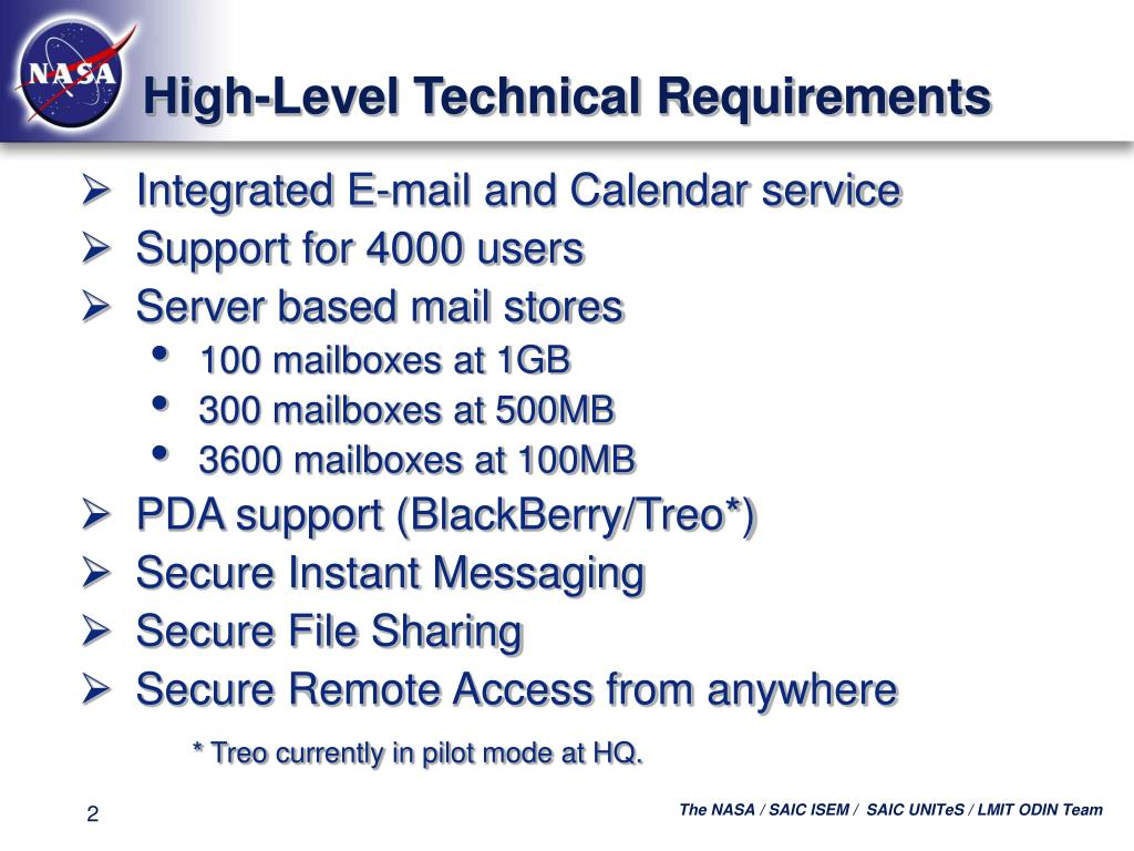 High-Level Technical Requirements