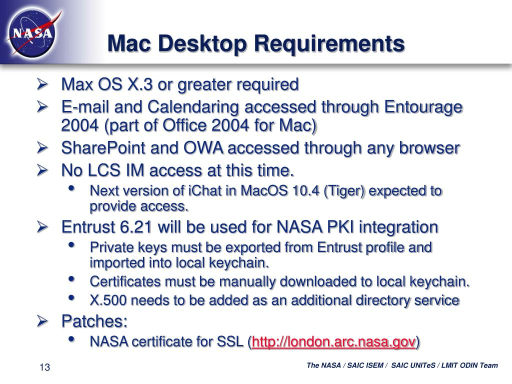 Mac Desktop Requirements