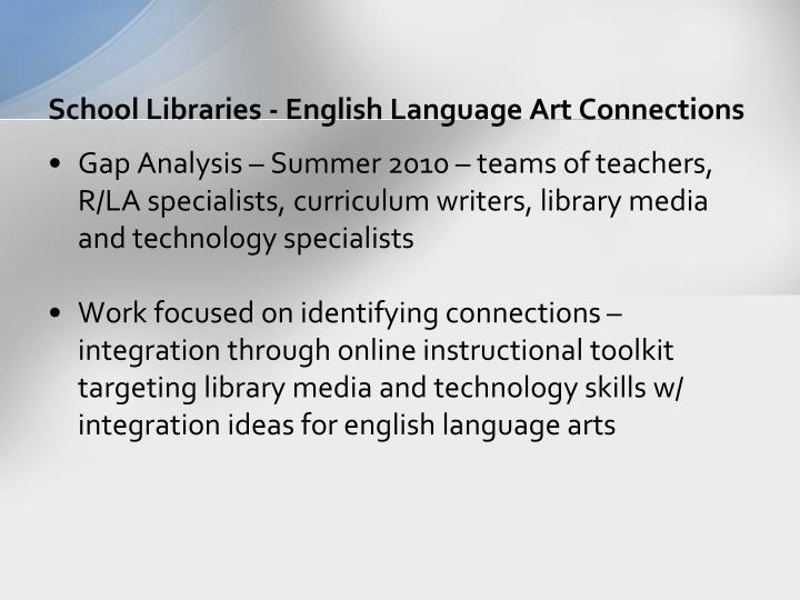 School Libraries - English Language Art Connections