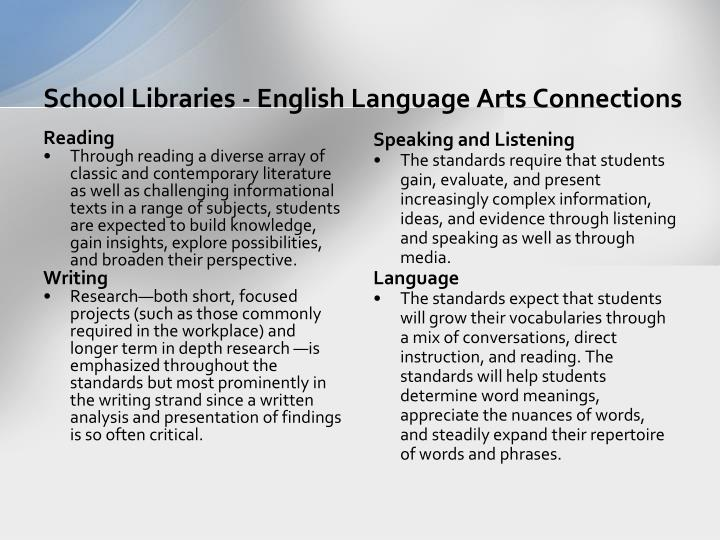 School Libraries - English Language Arts Connections
