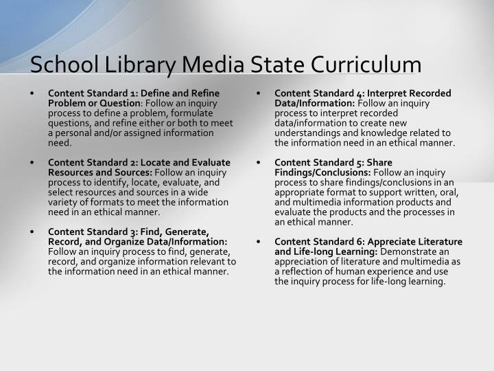 School Library Media State Curriculum