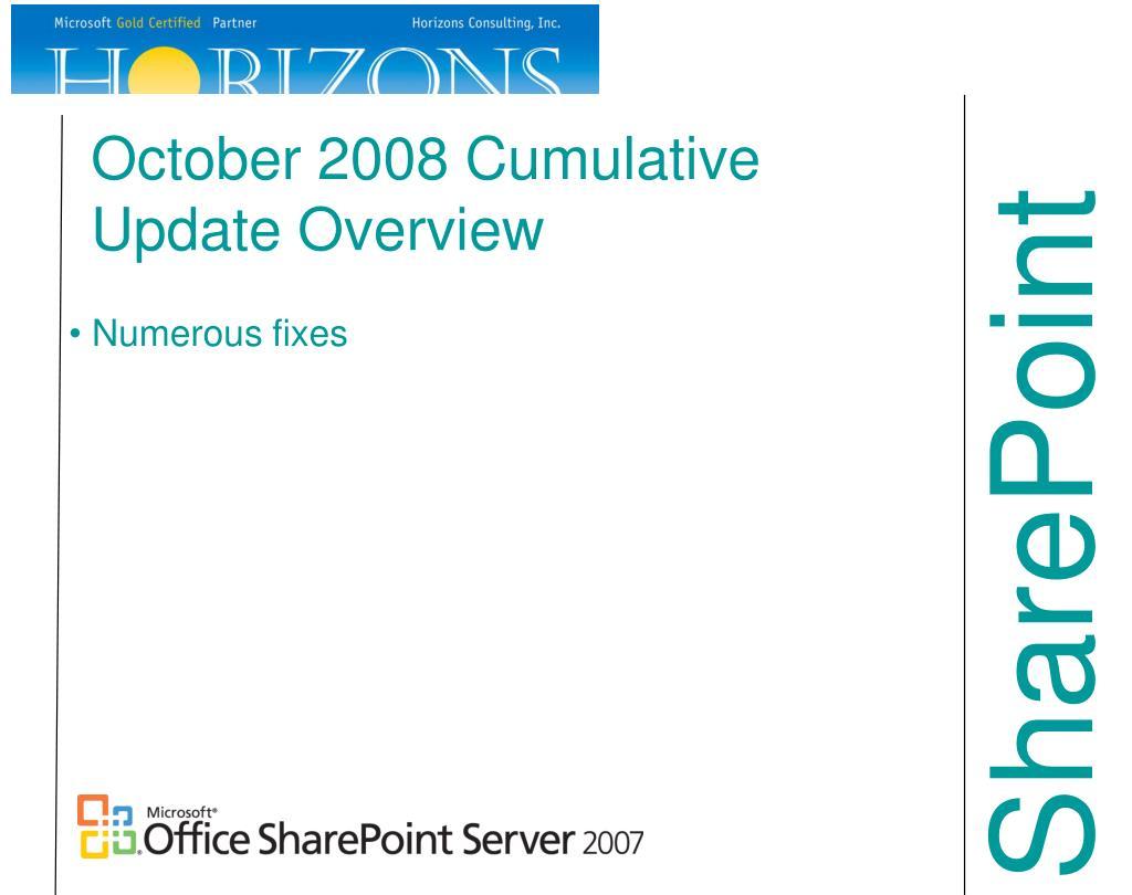 October 2008 Cumulative Update Overview