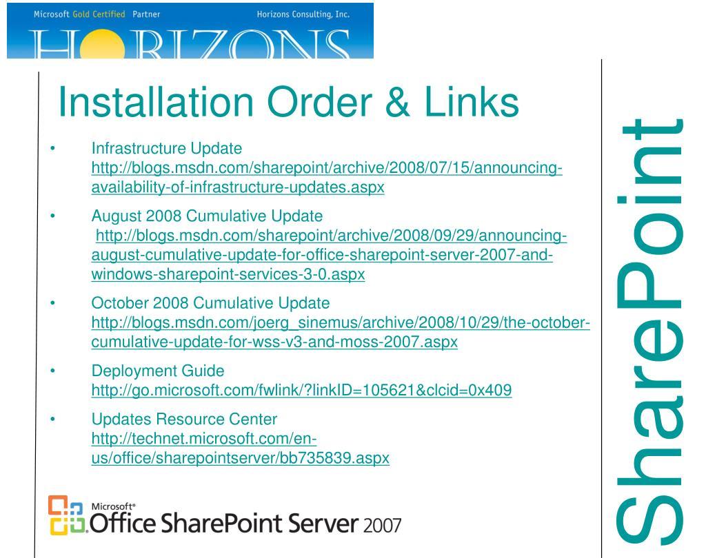 Installation Order & Links