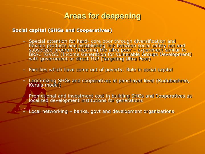 Areas for deepening