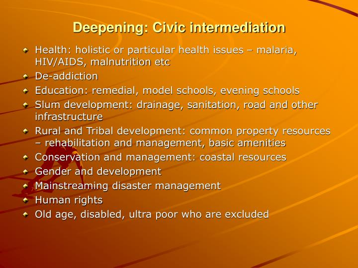 Deepening: Civic intermediation