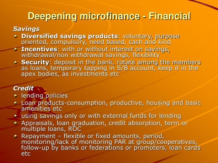 Deepening microfinance - Financial