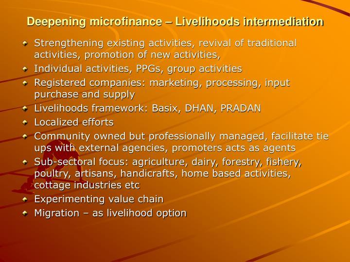 Deepening microfinance – Livelihoods intermediation