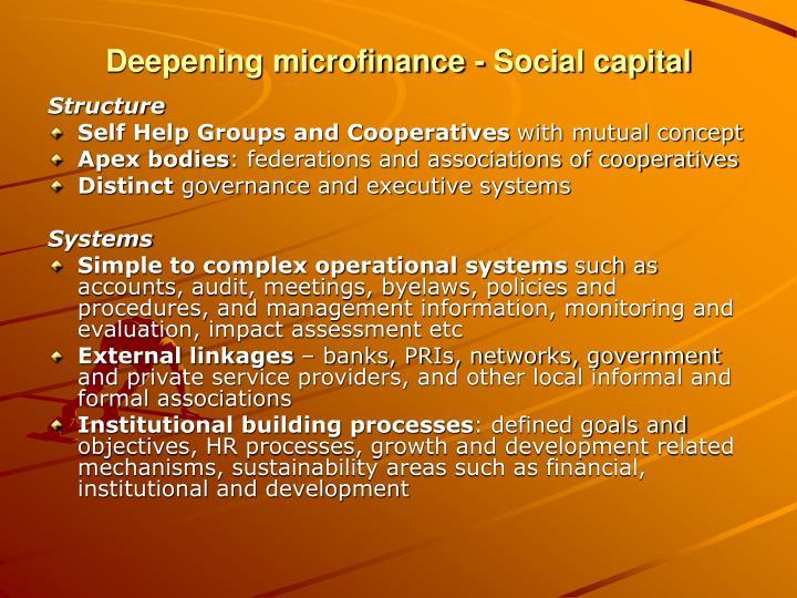 Deepening microfinance - Social capital