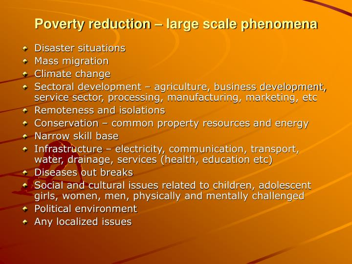 Poverty reduction – large scale phenomena