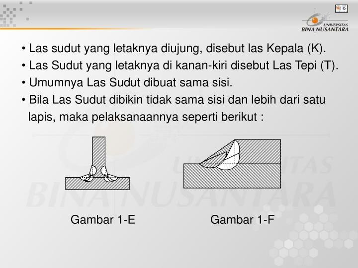 Las sudut yang letaknya diujung, disebut las Kepala (K).