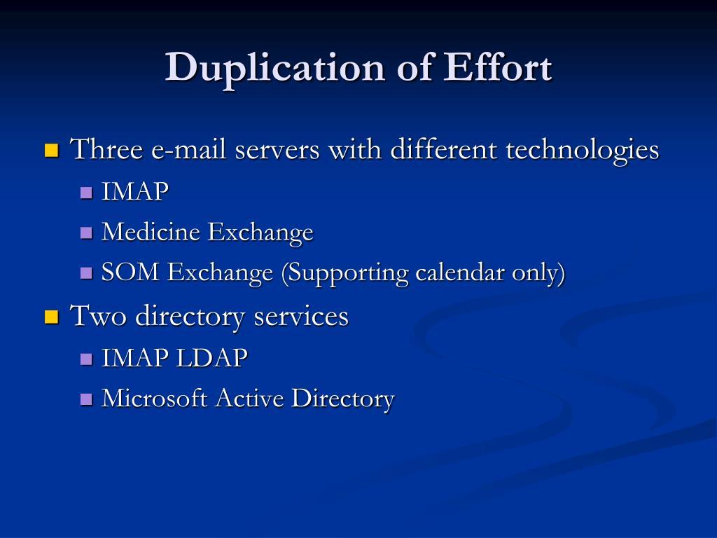Duplication of Effort