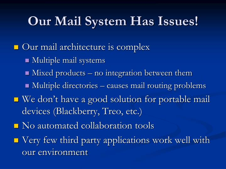 Our mail system has issues
