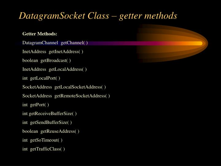 DatagramSocket Class – getter methods