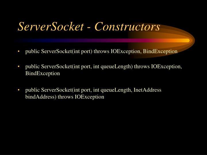 ServerSocket - Constructors