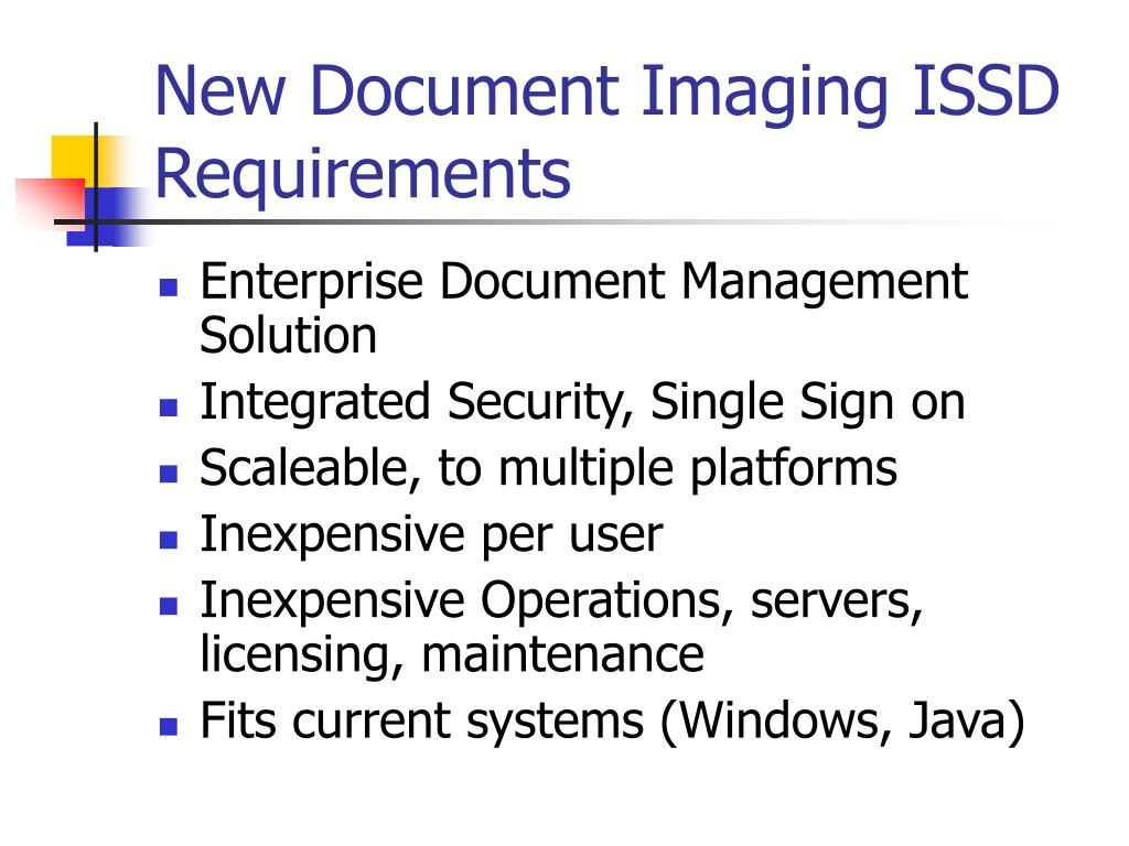 New Document Imaging ISSD Requirements