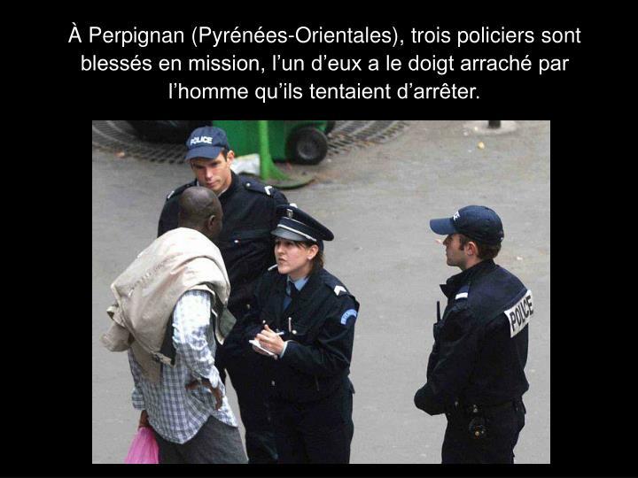 À Perpignan (Pyrénées-Orientales), trois policiers sont blessés en mission, l'un d'eux a le doigt arraché par l'homme qu'ils tentaient d'arrêter.
