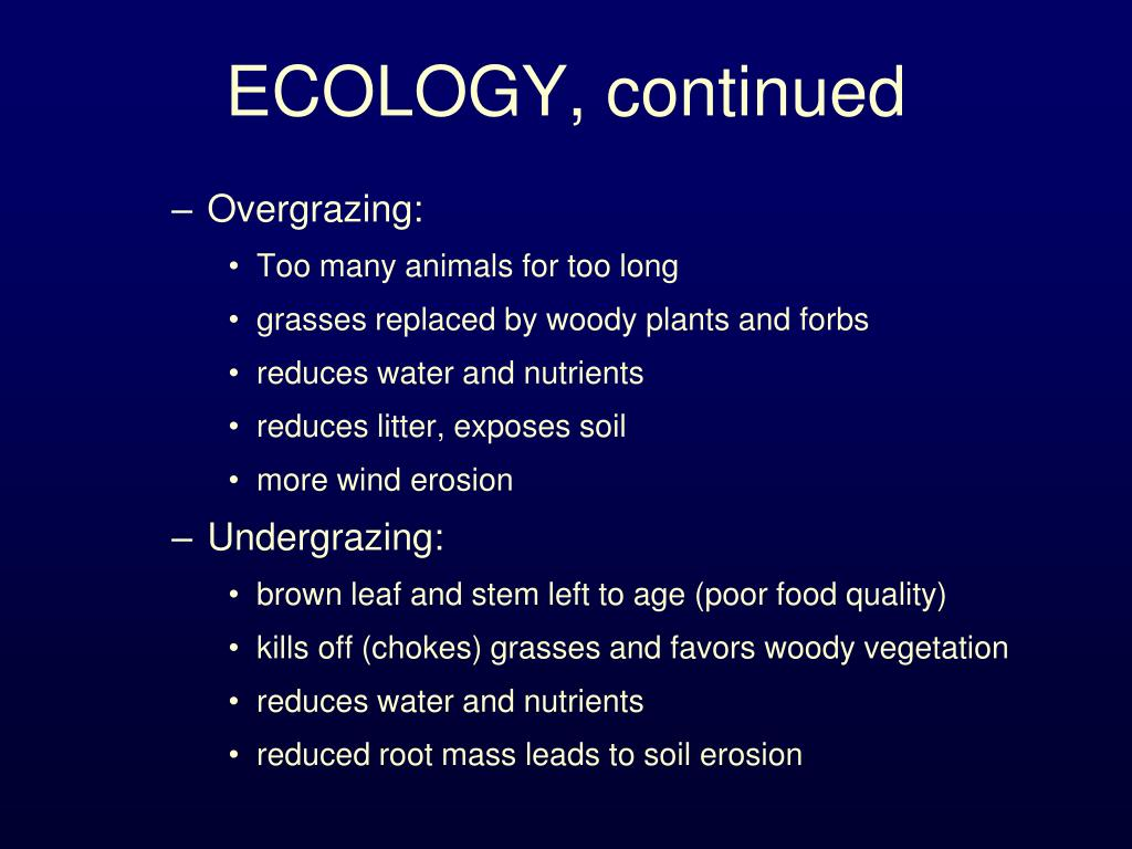 ECOLOGY, continued