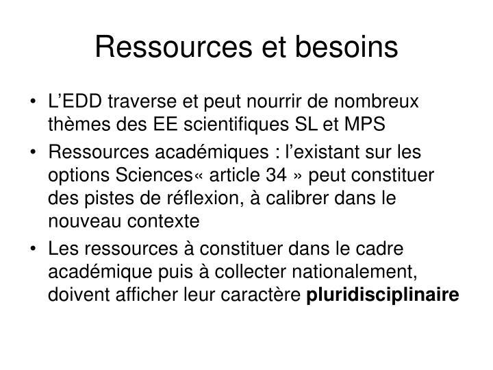 Ressources et besoins