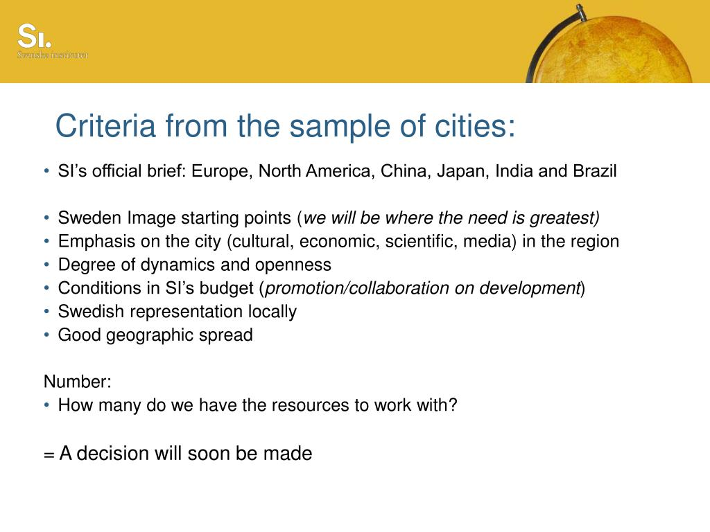 Criteria from the sample of cities: