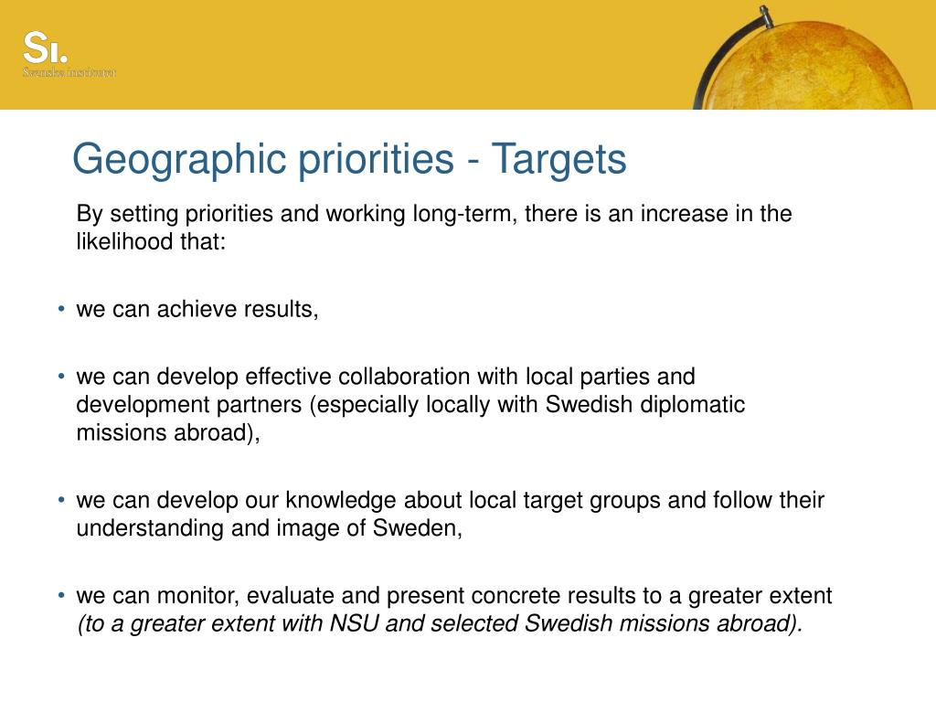 Geographic priorities - Targets