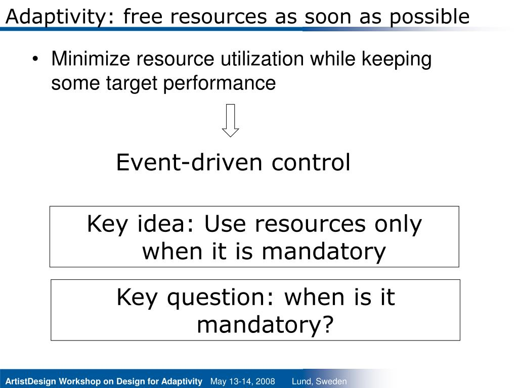 Adaptivity: free resources as soon as possible