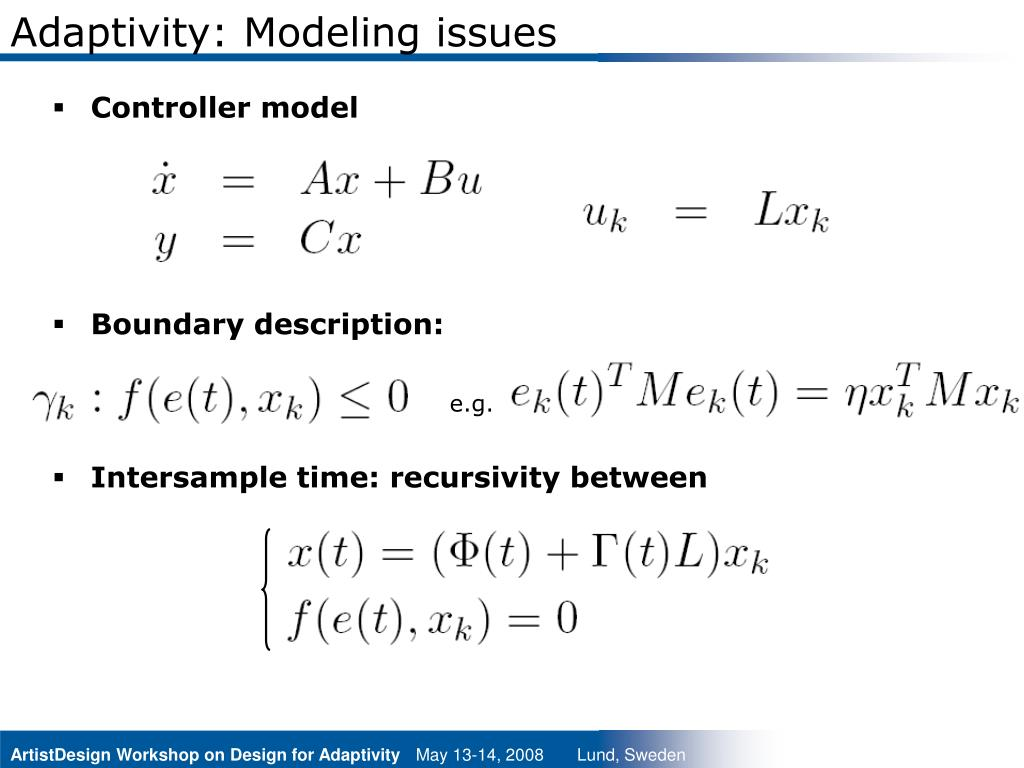 Adaptivity: Modeling issues