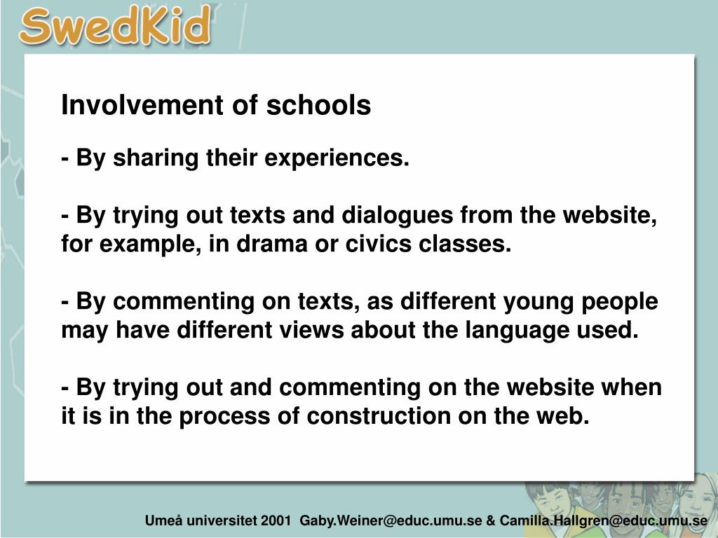 Involvement of schools