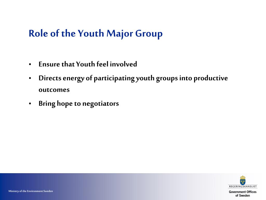Role of the Youth Major Group