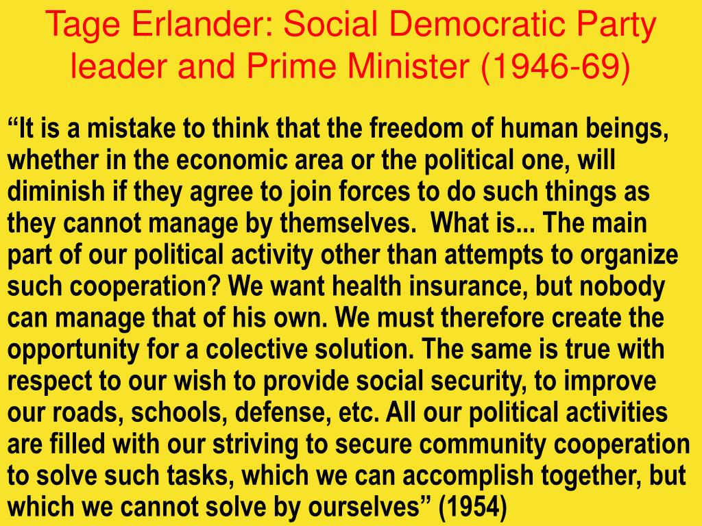 Tage Erlander: Social Democratic Party leader and Prime Minister (1946-69)