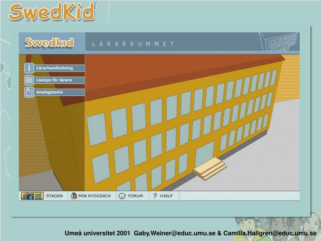 Umeå universitet 2001  Gaby.Weiner@educ.umu.se & Camilla.Hallgren@educ.umu.se
