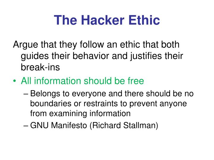 The Hacker Ethic