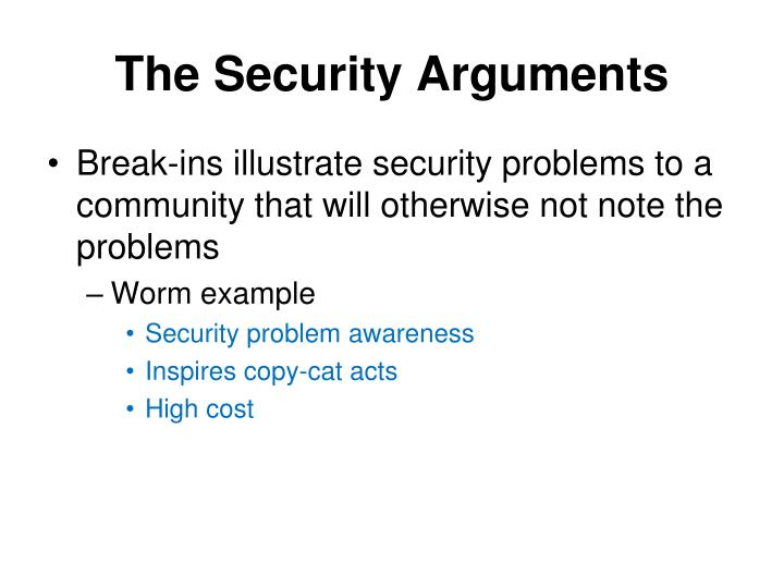 The Security Arguments