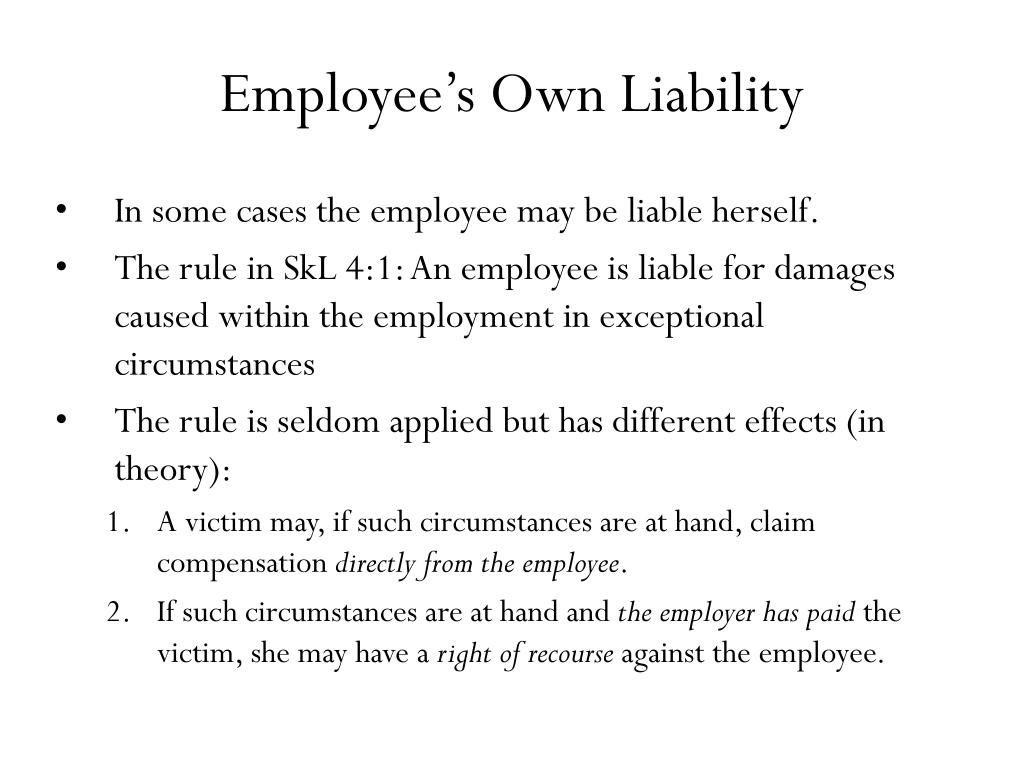 Employee's Own Liability