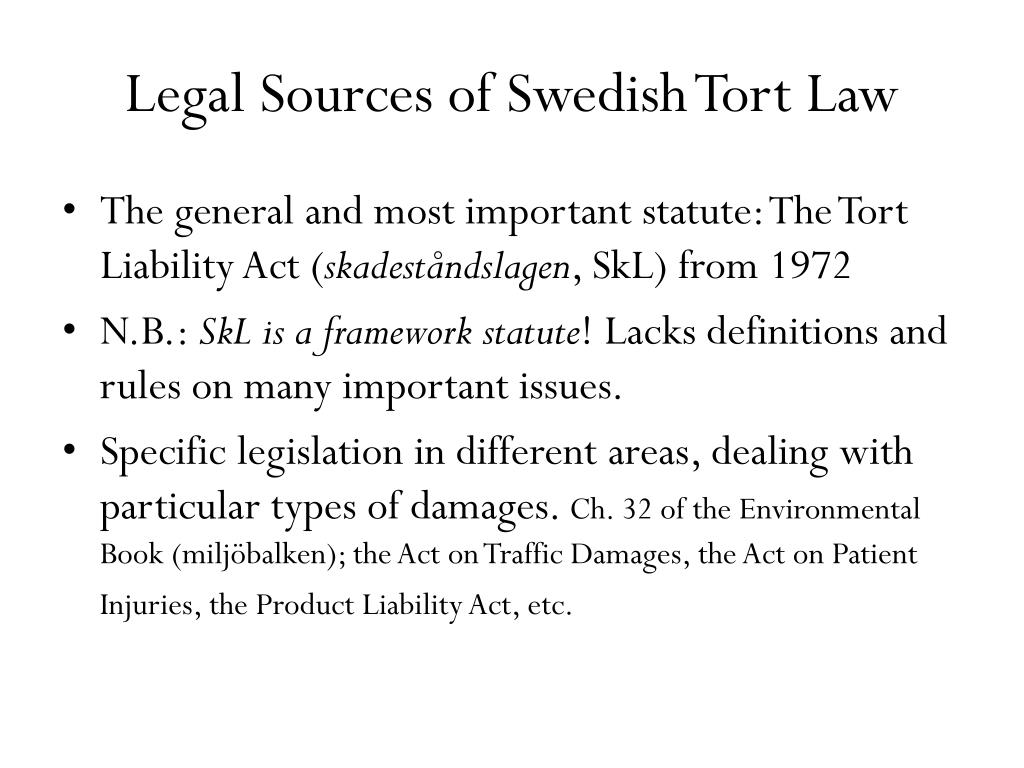 Legal Sources of Swedish Tort Law