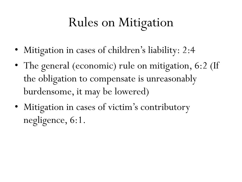 Rules on Mitigation