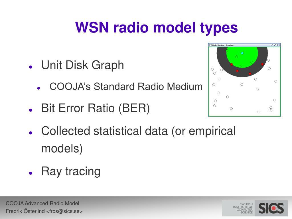 WSN radio model types