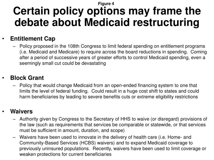 Certain policy options may frame the debate about Medicaid restructuring