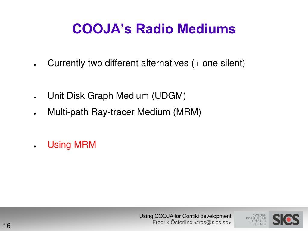 COOJA's Radio Mediums