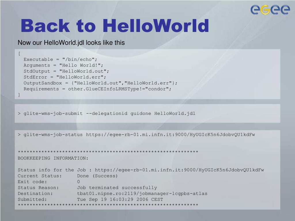 Back to HelloWorld