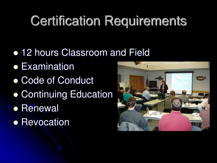 Certification Requirements
