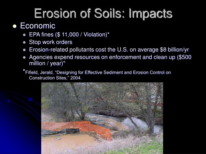 Erosion of Soils: Impacts
