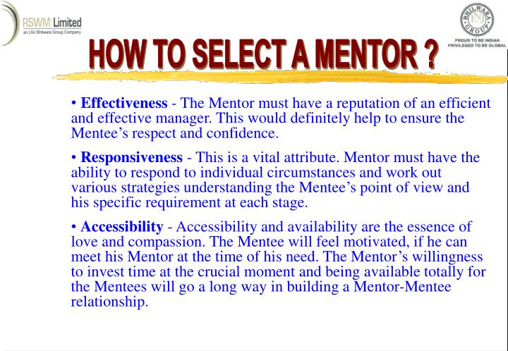 HOW TO SELECT A MENTOR ?