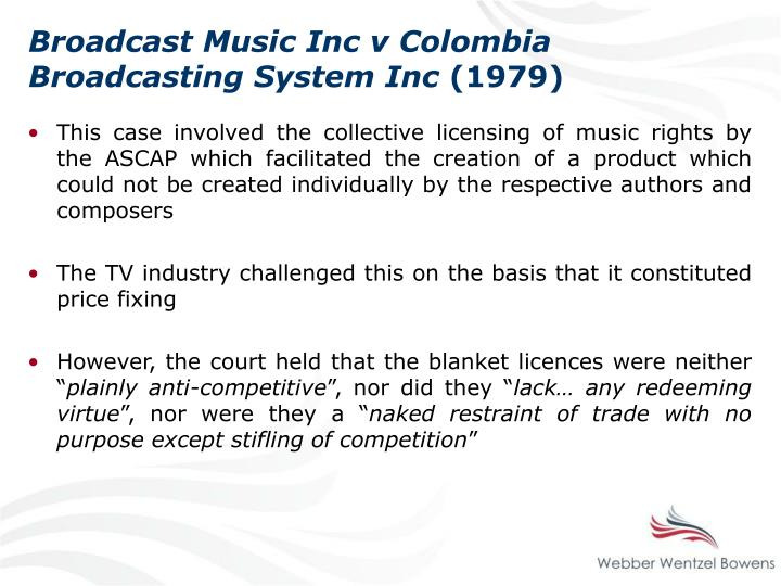 Broadcast Music Inc v Colombia Broadcasting System Inc