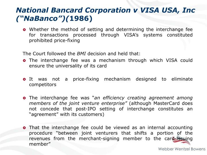 "National Bancard Corporation v VISA USA, Inc (""NaBanco"")("