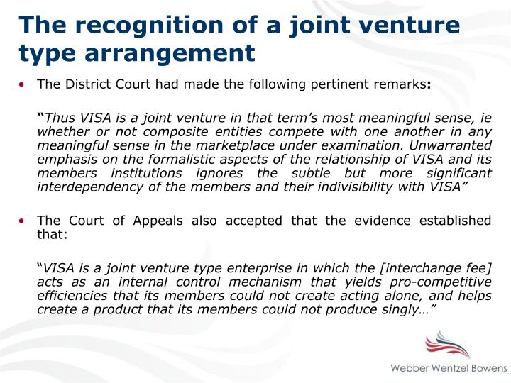 The recognition of a joint venture type arrangement