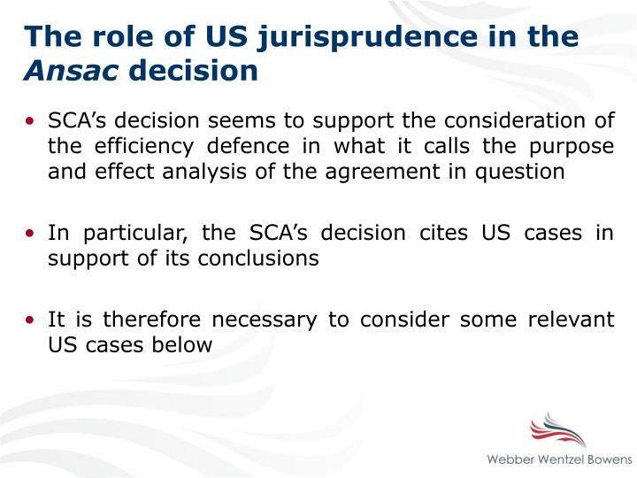 The role of US jurisprudence in the